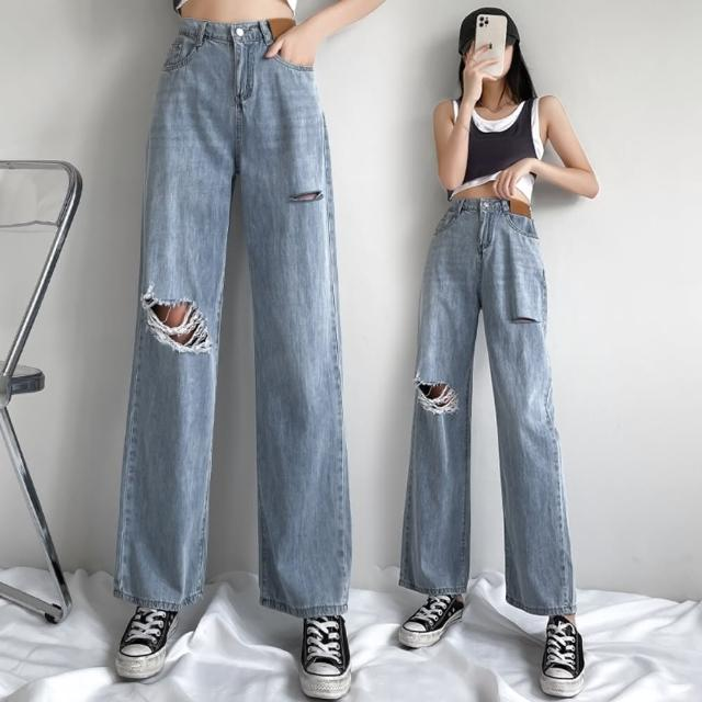 【WHATDAY】率性個性高腰半鬆緊腰刷破牛仔寬褲S-XL