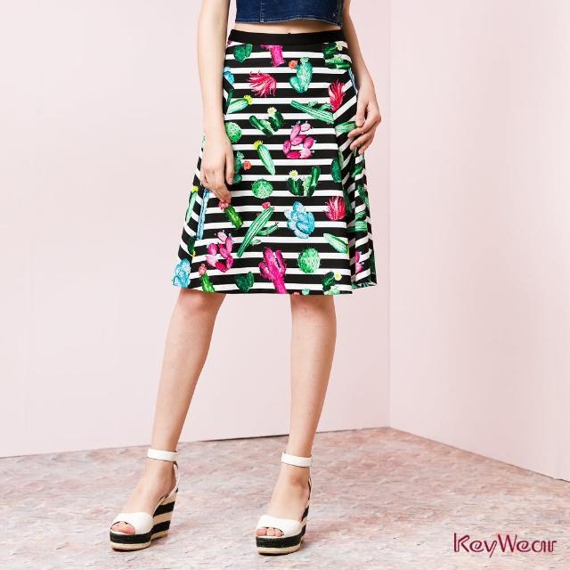 【KeyWear 奇威名品】俏麗印花系條紋時尚長裙