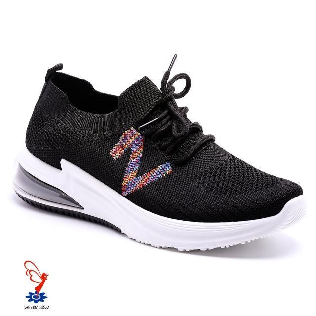 【母子鱷魚】色彩條紋氣墊運動鞋-黑