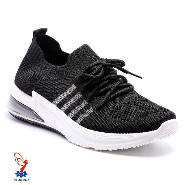 【母子鱷魚】時尚氣墊襪套運動鞋-黑