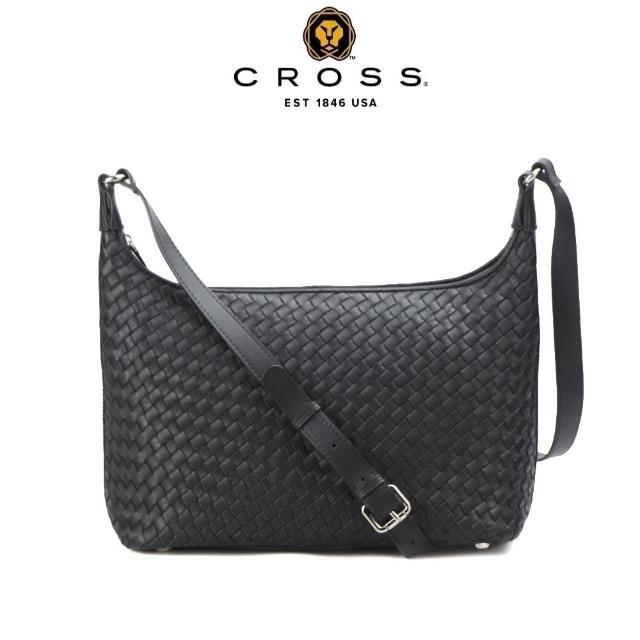 【CROSS】限量1折 頂級小牛皮手工編織斜背包 肩背包 全新專櫃展示品(黑色)