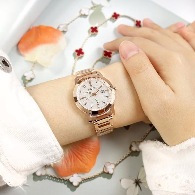 【SEIKO 精工】LUKIA 太陽能 藍寶石水晶玻璃 日期 不鏽鋼手錶 銀白x鍍玫瑰金 31mm(V137-0DK0P.SUT418J1)