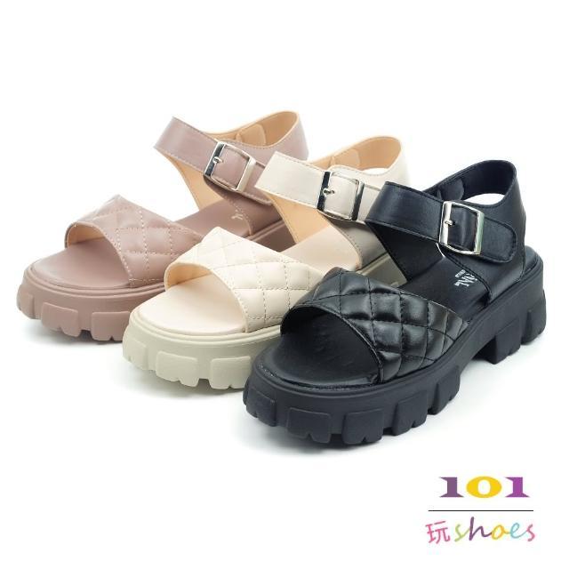 【101 玩Shoes】mit. 個性菱紋巧克力厚底涼鞋(黑/米/可可.36-40碼)