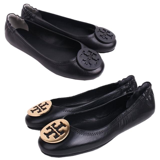 【TORY BURCH】TORY BURCH Minnie Travel 金盾柔軟Nappa皮革娃娃鞋(2款/任選)