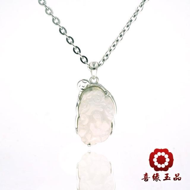 【喜緣玉品】天然迎財翡翠玉貔貅項鍊(銀白K)