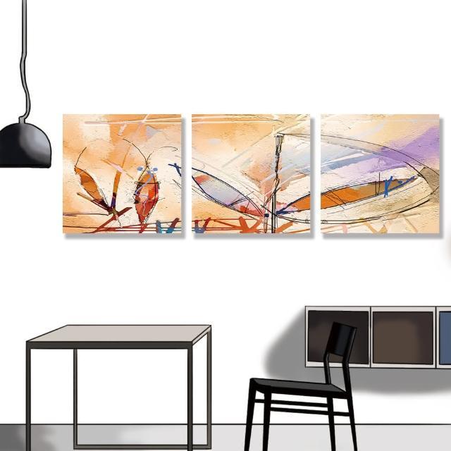 【24mama 掛畫】三聯式 油畫布 紋理 五顏六色 手繪 現代藝術 豐富多彩 充滿活力 無框畫-30x30cm(抽象繪畫)