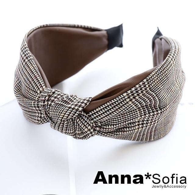【AnnaSofia】韓式髮箍髮飾-格紋拼皮革中央結(咖革-千鳥紋系)