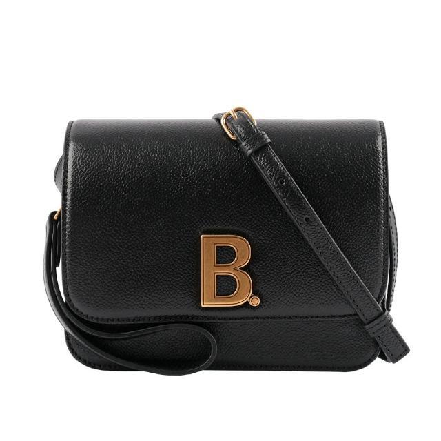 【Balenciaga 巴黎世家】B. Logo 顆粒牛皮翻蓋斜背包_小款(黑色)