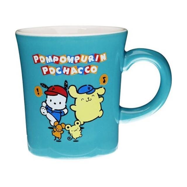 【小禮堂】Sanrio大集合 日製 陶瓷馬克杯 咖啡杯 茶杯 陶瓷杯 金正陶器 《綠 棒球帽》