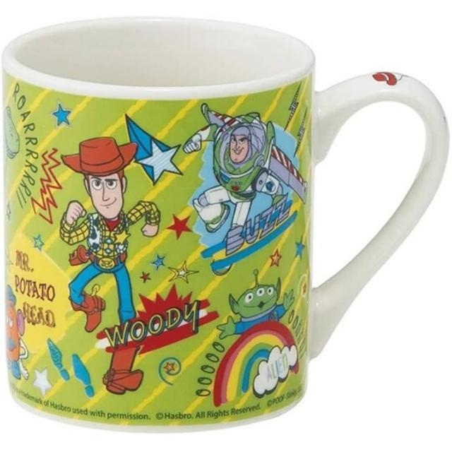 【小禮堂】迪士尼 玩具總動員4 陶瓷馬克杯 咖啡杯 茶杯 陶瓷杯 240ml 《綠 斜紋》