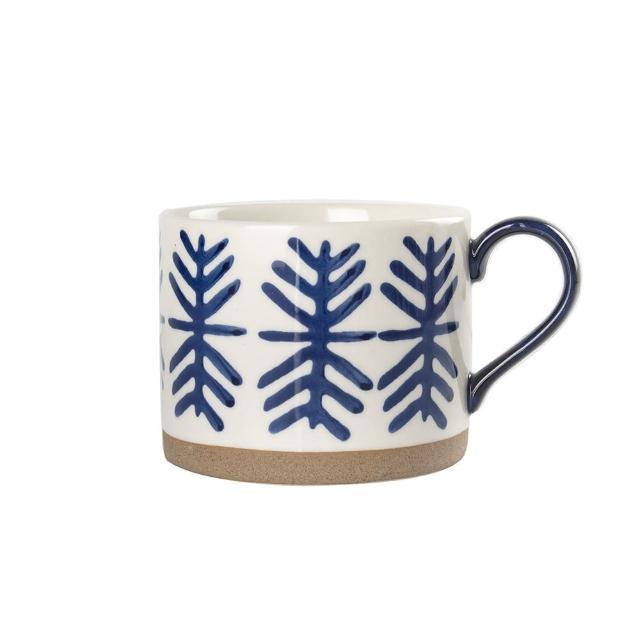 【Royal Duke】復古手繪藍彩系列早餐杯-雪花2入(復古 彩繪 馬克杯 早餐杯 買一送一)