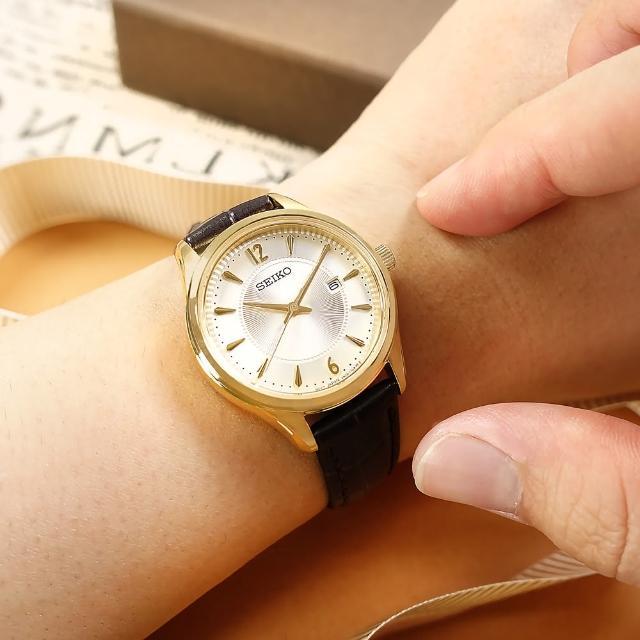 【SEIKO 精工】放射狀錶盤 藍寶石水玻璃 日期 壓紋牛皮手錶 銀白x金框x深褐色 30mm(6N22-00N0J.SUR478P1)