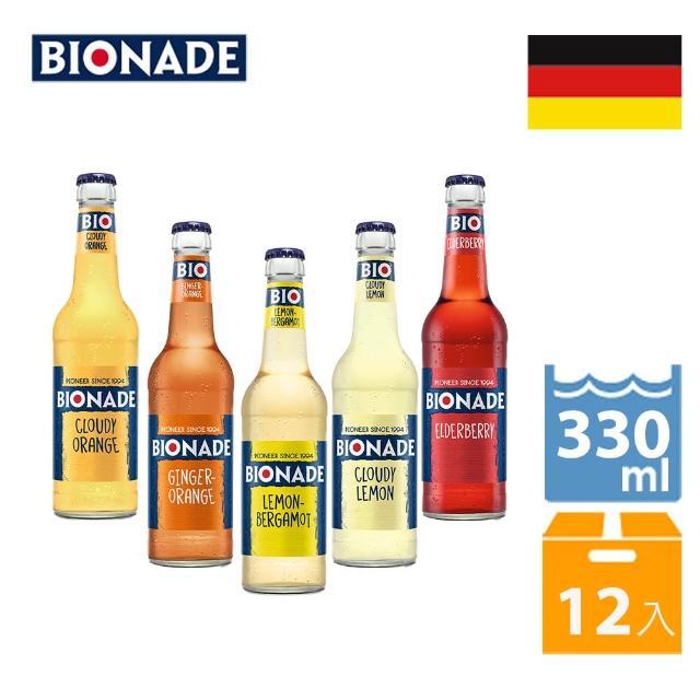 【Bionade 比奧納德】天然氣泡飲料-5種風味綜合 330mlx12入(德國原裝進口)
