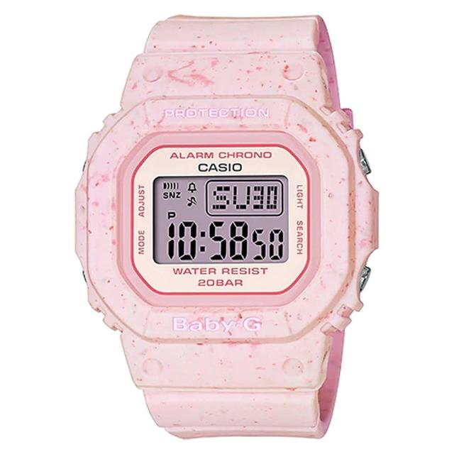 【CASIO 卡西歐】Baby-G 好想咬一口 冰淇淋 計時電子錶-草莓(BGD-560CR-4)
