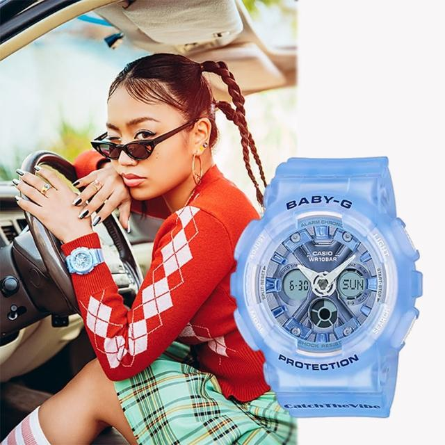 【CASIO 卡西歐】Baby-G 嘻哈復古風格半透明雙顯手錶(BA-130CV-2A)