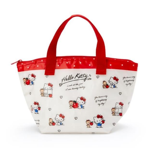 【小禮堂】Hello Kitty 防水保冷便當袋 午餐袋 保冷提袋 保溫袋 野餐袋 《米 滿版》