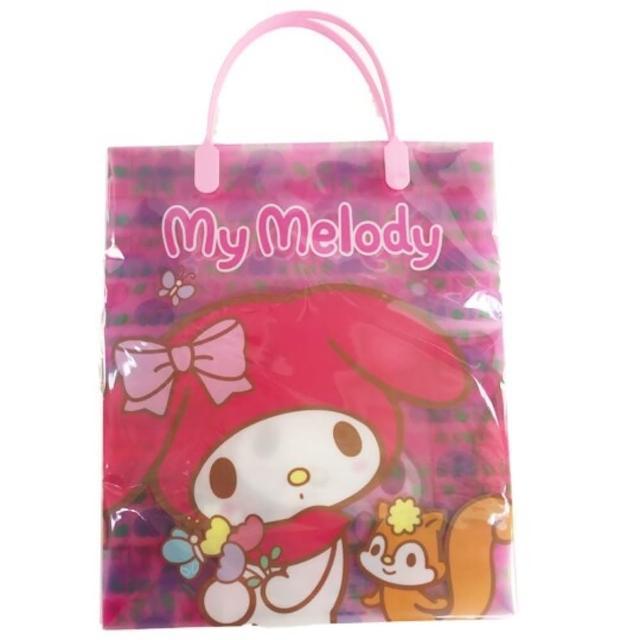 【小禮堂】美樂蒂 直式方形透明手提袋 禮物提袋 包裝提袋 禮品袋 《粉 花朵》