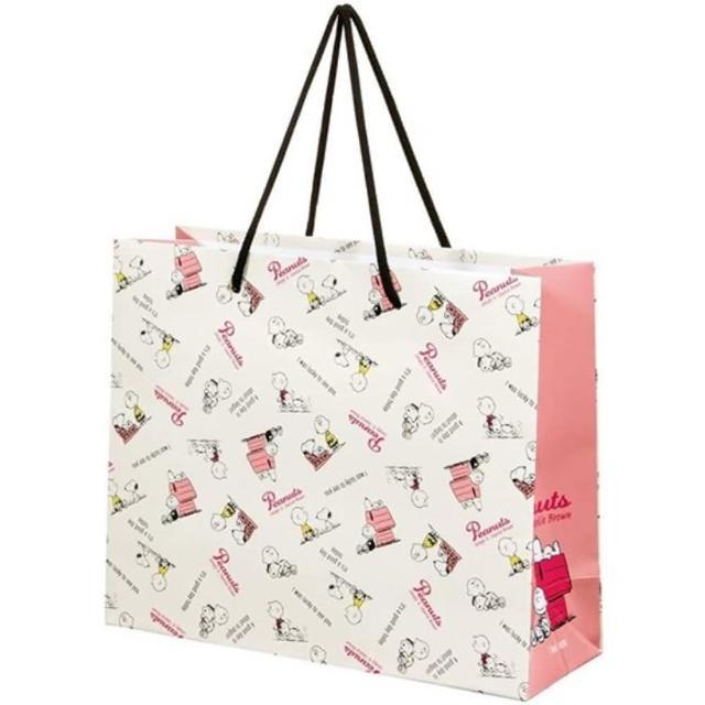 【小禮堂】史努比 橫式方形手提紙袋 中提袋 禮物紙袋 包裝紙袋 禮品袋 《米 文字》