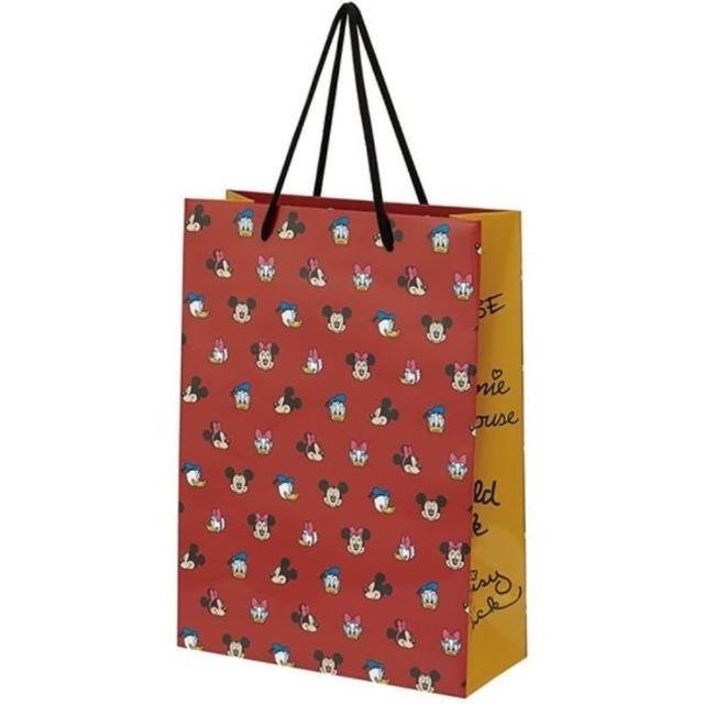 【小禮堂】迪士尼 直式方形手提紙袋 大提袋 禮物紙袋 包裝紙袋 禮品袋 《暗紅 滿版》