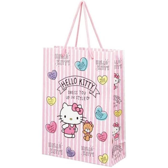 【小禮堂】Hello Ktity 直式方形手提紙袋 大提袋 禮物紙袋 包裝紙袋 禮品袋 《粉 直紋》
