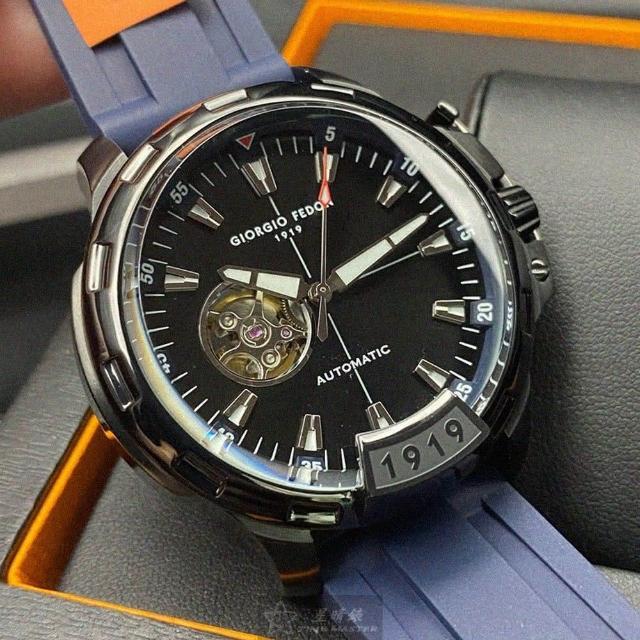 【GIORGIO FEDON 1919】喬治飛登1919男錶型號GF00022(黑色錶面黑錶殼寶藍矽膠錶帶款)
