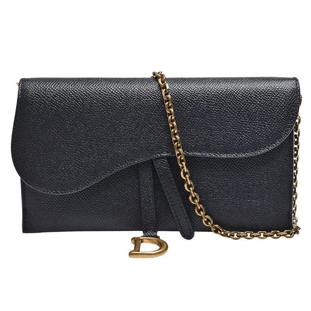 【Dior 迪奧】經典SADDLE系列顆粒小牛皮手拿/斜背包(黑S5614CBAA_M900)