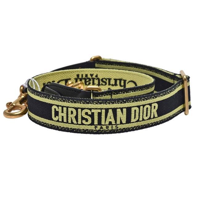 【Dior 迪奧】經典品牌自母刺繡帆布肩背帶(青檸色S8553CBTE_M12C)