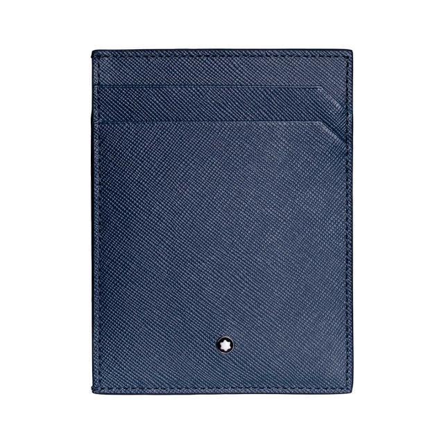 【MONTBLANC 萬寶龍】匠心系列牛皮6卡卡夾附證件袋(藍)