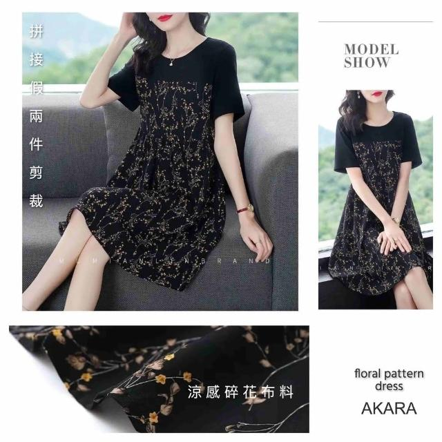 【AKARA】拼接假兩件涼感碎花連身裙洋裝