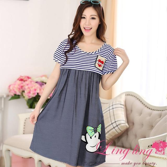 【lingling】PA3511全尺碼-拉鍊開口猴印圖橫紋後綁結哺乳孕婦家居連身裙睡衣(悠閒藍)