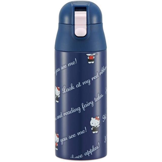 【小禮堂】Hello Kitty 彈蓋不鏽鋼保溫瓶 超輕量不鏽鋼水瓶 隨身瓶 360ml 《深藍 文字》