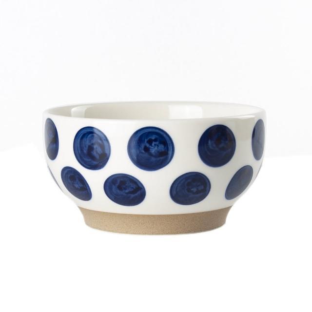 【Royal Duke】復古手繪藍彩系列-4.75吋碗-波點 2入組(復古 彩繪 圓點 小碗 飯碗 買一送一)