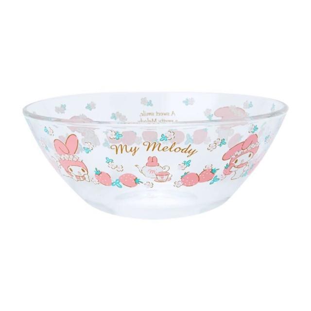 【小禮堂】Hello Kitty 日製 玻璃沙拉碗 透明水果碗 平底碗 麥片碗 點心碗 《粉 2021新生活》
