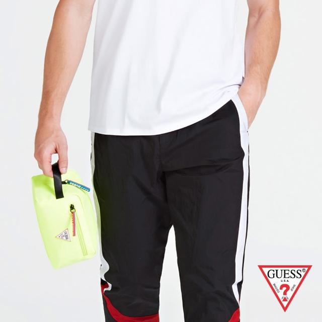 【GUESS】男包-簡約素色尼龍手拿包 收納包-螢光黃(HM6737POL93YEL)