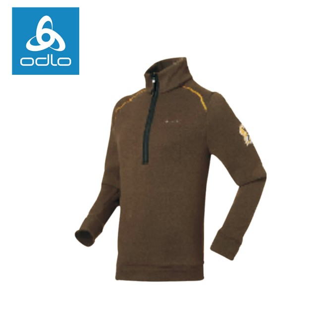 【ODLO】男半門襟長袖加厚保暖衫 220592-咖啡19813