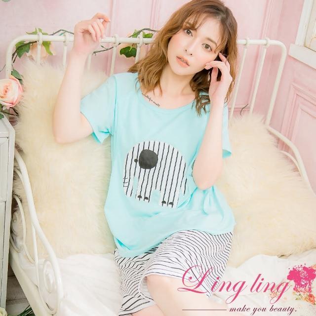 【lingling】PA4095全尺碼-直條紋象貼布上側開口哺乳孕婦棉質短袖二件式睡衣組(童趣藍)