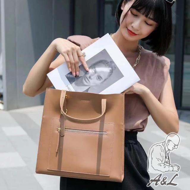 【A&L 老工匠】韓風真牛皮時尚肩背托特包(焦糖棕)
