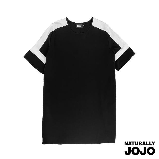 【NATURALLY JOJO】時尚袖拼接落肩洋裝(黑)