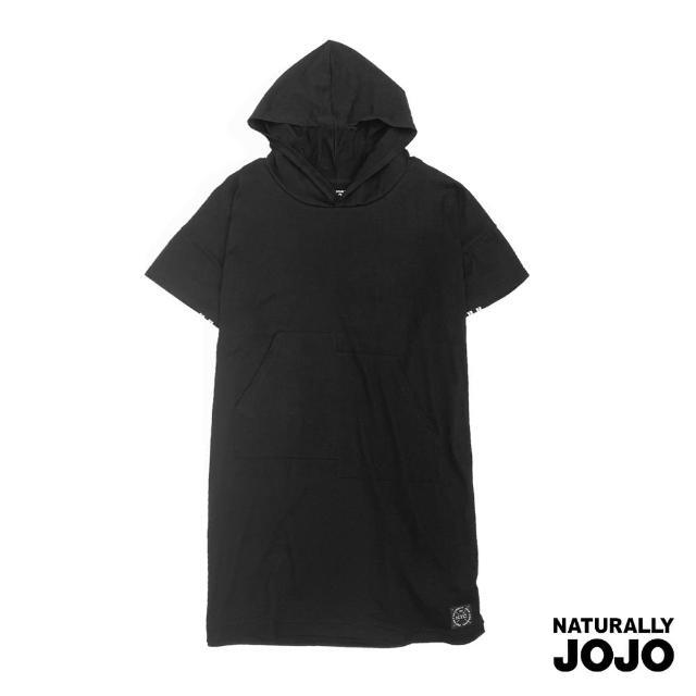 【NATURALLY JOJO】原創後織帶長版帽T(黑)