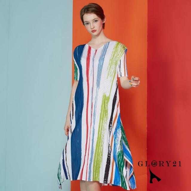 【GLORY21】新品-直條壓褶洋裝(白色)