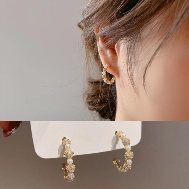 【Emi 艾迷】韓國永恆慕夏鋯石珍珠勾勒925銀針耳環