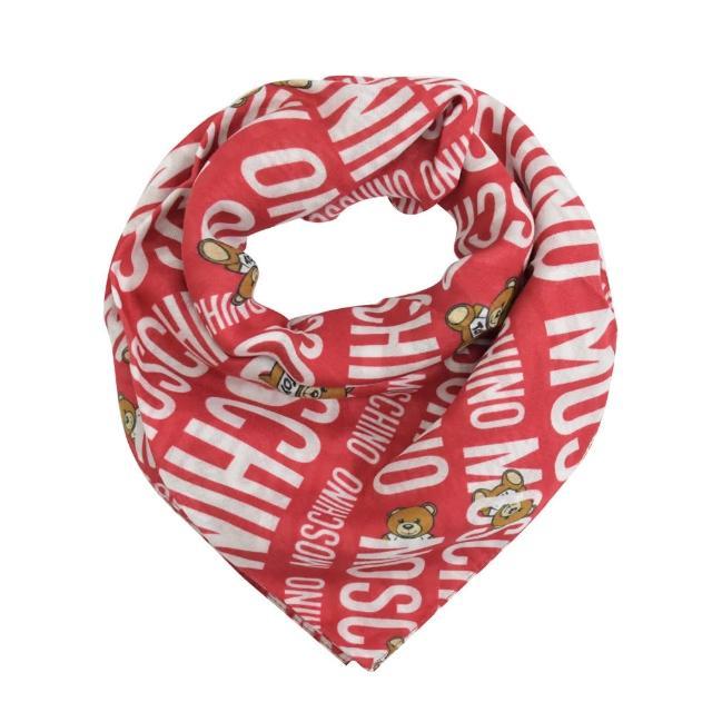 【MOSCHINO】品牌LOGO泰迪熊莫代爾領巾絲巾圍巾(紅)