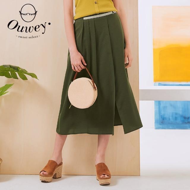 【OUWEY 歐薇】零存在涼感打摺開叉長裙3212062264(深綠)