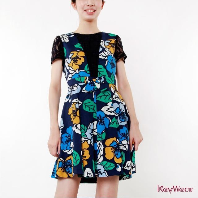 【KeyWear 奇威名品】繽紛夏花色調俏麗短袖洋裝