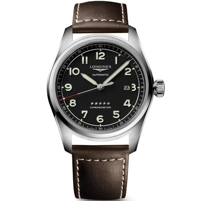 【LONGINES 浪琴】Spirit 先行者系列飛行員機械錶-咖啡皮帶/42mm(L38114530)