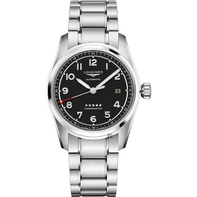 【LONGINES 浪琴】Spirit 先行者系列飛行員機械錶-銀x黑/40mm(L38104536)