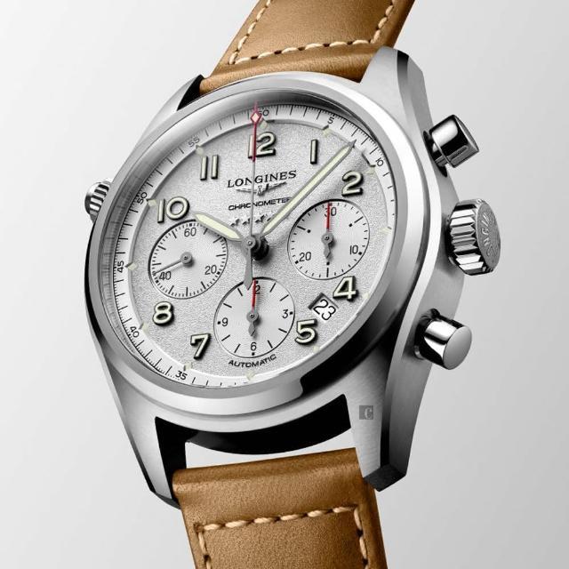 【LONGINES 浪琴】Spirit 先行者系列飛行員計時機械錶-銀X咖啡/42mm(L38204732)