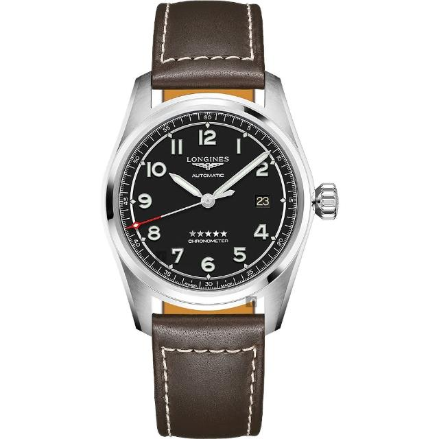 【LONGINES 浪琴】Spirit 先行者系列飛行員機械錶-黑x咖啡/40mm(L38104530)