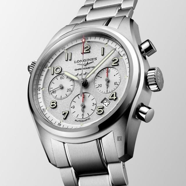 【LONGINES 浪琴】Spirit 先行者系列飛行員計時機械錶-銀/42mm(L38204736)