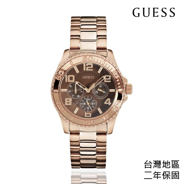 【GUESS】玫瑰金殼 棕色面 三眼日期標示 不鏽鋼錶帶(W0231L8)